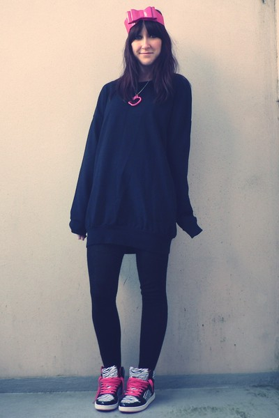 pink new look belt - black New Yorker sweater - black  tights - pink New Yorker