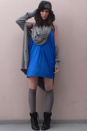 chapka hat - H&M scarf - Zara coat - Topshop dress - H&M socks - new look boots