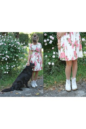white thrifted White Boots boots - bubble gum rose print modcloth dress