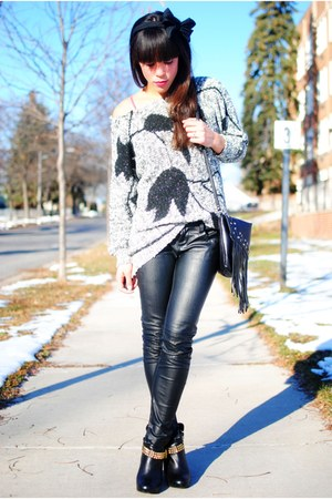 Forever 21 accessories - sweater - H&M bag - Forever 21 pants - Dolce Vita boots