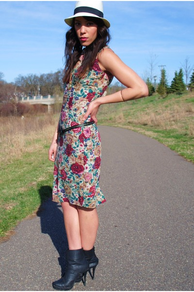 thrifted dress - Forever 21 shoes - Forever 21 hat