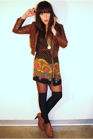 Charlotte Russe jacket - thrifted dress - Forever 21 shoes
