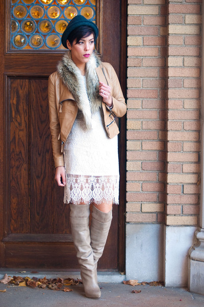 Romwecom jacket - sam edelman boots - Romwecom dress - Forever 21 hat