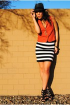 Forever 21 skirt - Forever 21 shoes - ThriftedVintage vest - Target hat