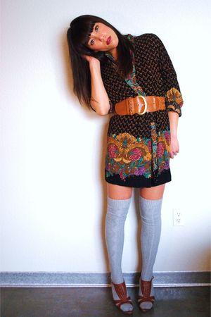 vintage cardigan - Forever 21 belt - Forever 21 shoes - Target socks