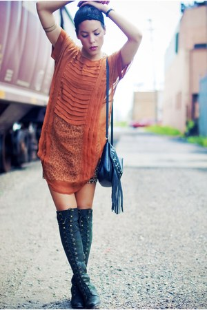 Jeffrey Campbell boots - thrift dress - H&M bag - free people blouse