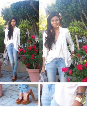 white blazer - light blue jeans - white blouse - bronze heels