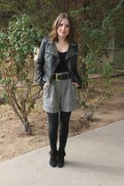 black Forever 21 jacket - black Forever 21 shorts - black go jane boots