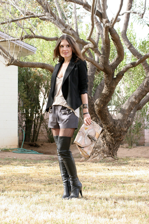 black Zara blazer - black Aldo boots - Topshop shorts