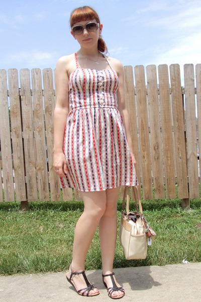 red Forever 21 dress - gold vintage necklace - black Rocketdog shoes - beige vin