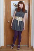gray dress - gold belt - purple tights - beige shoes