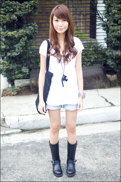 black camera necklace - black from japan boots - blue cuffed denim ROMP shorts