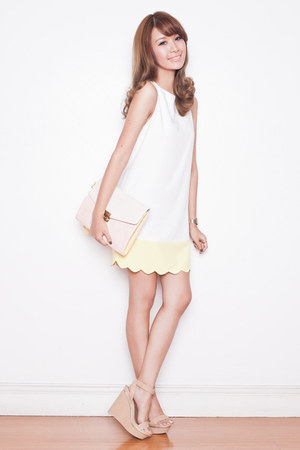 white shift Tricia for Romwe dress - beige Randa wedges
