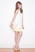 white shift Tricia for Romwe dress - beige Randa wedges