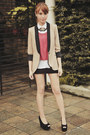 Tan-two-tone-zara-blazer-white-polo-uniqlo-top-maroon-crop-topshop-top