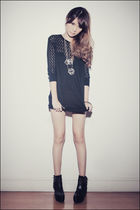 black Topshop top - black Soule Phenomenon boots - silver Yhansy necklace - blac