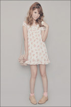 tan Anthology shoes - ivory C-O-L-Z-A dress - light pink Zara bag - pink H&M soc