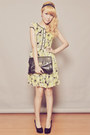 Light-yellow-clothes-for-the-goddess-dress-black-clutch-dorothy-perkins-bag