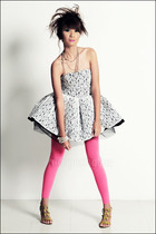 pink leggings - green shoes - white covet Glitterati dress - white necklace