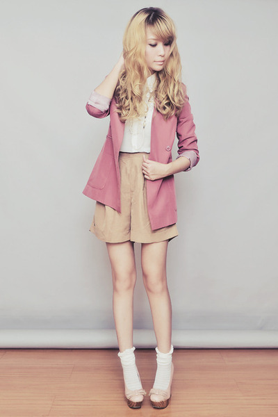 pink Sheinside blazer - light brown Topshop shorts - white Topshop top