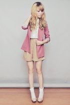 pink Sheinside blazer - light brown Topshop shorts - white Topshop top