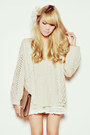 White-lace-snidel-shorts-off-white-cable-knit-snidel-sweater