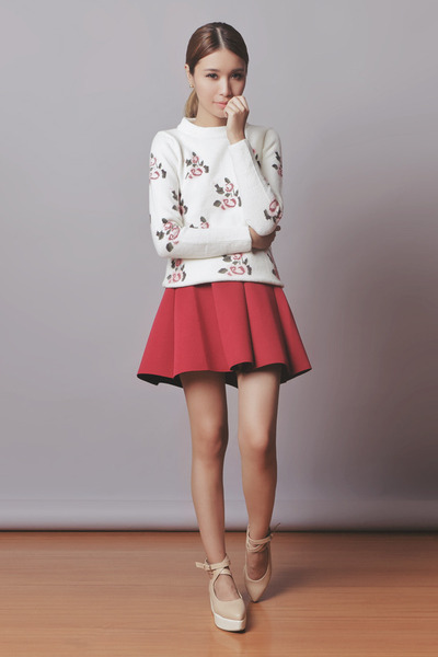 brick red floral Choies skirt - neutral flatform romwe shoes
