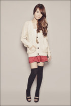 beige oversized knit Forever 21 cardigan - dark brown peeptoe Forever 21 shoes