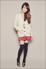 Beige-forever-21-cardigan-white-forever-21-top-red-forever-21-skirt-charco