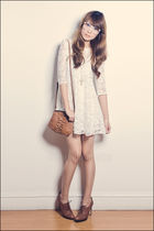 white Topshop dress - brown Nine West shoes - brown Mango bag - white Forever 21