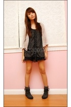 gray D&C boots - beige Cinema Club jacket - black mimi shorts