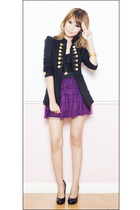 purple People are People skirt - black platform pumps Aldo shoes