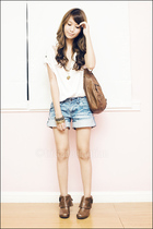brown didlake ankle Aldo boots - blue cuffed denim ROMP shorts