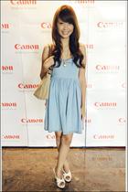 white wedges Celine shoes - blue denim sundress Topshop dress