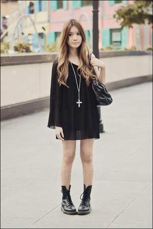 black one-shoulder Topshop dress - black doc martens boots - black Mphosis bag