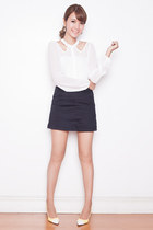 white cut-out Tricia for Romwe top - black Mango skirt - cream esperanza heels