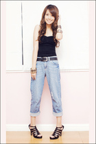 blue boyfriend Topshop jeans - black Mphosis shoes - black my brothers belt
