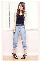 blue boyfriend Topshop jeans - black Mphosis shoes - black my brothers belt
