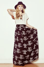 Black-forever-21-hat-ivory-forever-21-shirt-black-forever-21-skirt