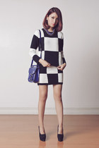 black set Sheinside sweater - navy Lacoste Lve bag - black Mart of China heels