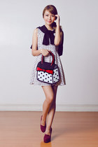 black JumpFromPaper bag - white etcgirlshoppe dress - black EMODA cardigan