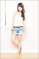 white loose polka dots top - gold vnc shoes - blue cuffed denim ROMP shorts