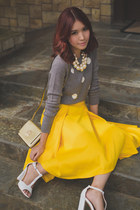 heather gray Gap sweater - gold kate spade bag - mustard apartment 8 skirt