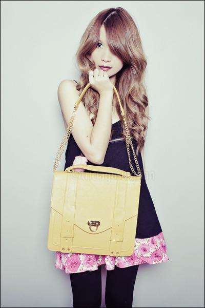 pink Glitterati skirt - mustard purse Gold Dot bag