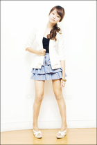 white Coexist blazer - white Celine shoes - blue cecil mcbee skirt