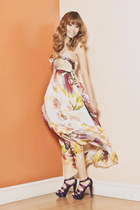off white floral maxi Kamiseta dress - purple Patch Avenue heels