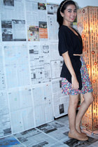 black Topshop top - black Zara cardigan - bronze Zara belt - hot pink Zara skirt
