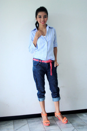 salmon Linea wedges - navy Zara jeans - light blue NN shirt - hot pink Zara belt