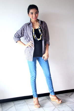 NN necklace - Zara jeans - NN shirt - Bruno Premi wedges - Topshop top