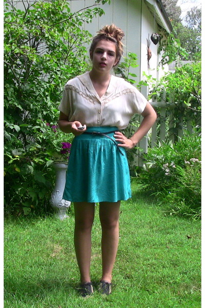 white vintage blouse - blue ecote skirt - black Forever 21 belt - brown Deena &